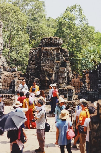 Tourists in Angkor Wat