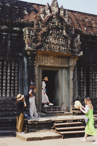 Visitors in Angkor Wat