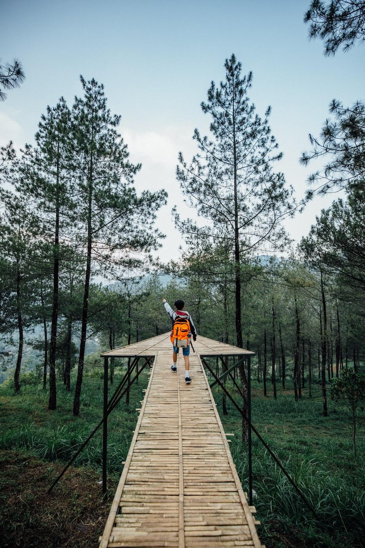 man walking in wooden platform in forest