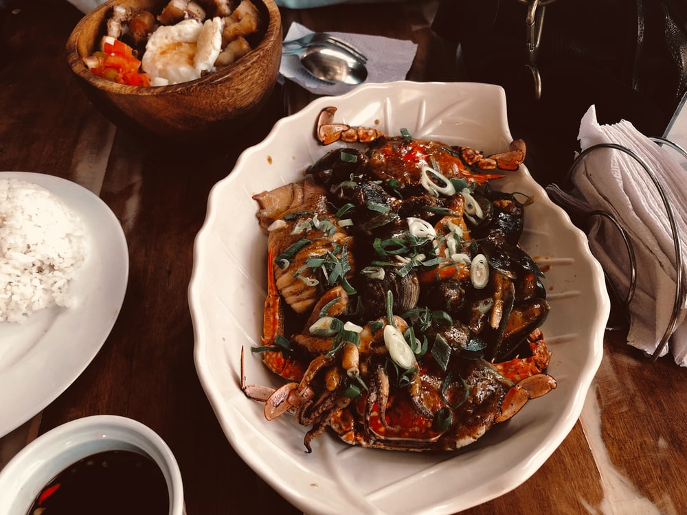 crab on a white ceramic bowl