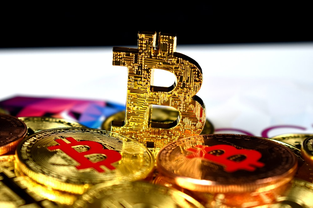 gold-colored Bitcoins