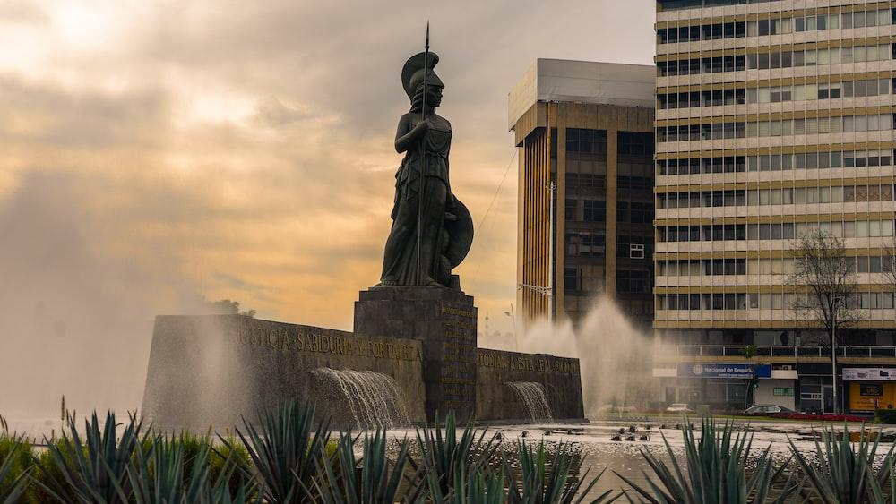 grey knight statue near building