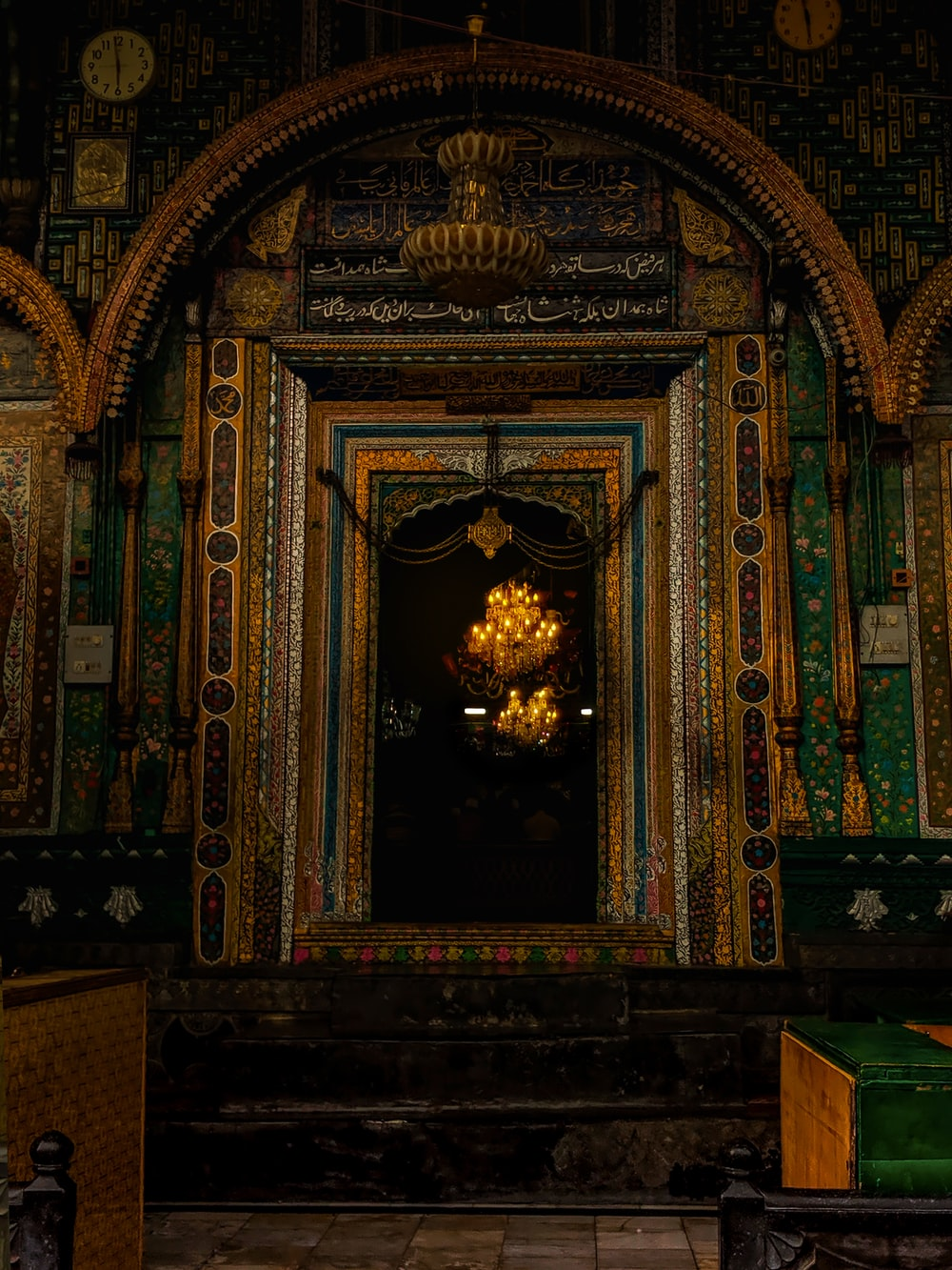 brown and green temple interior