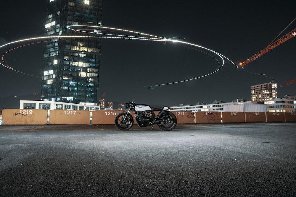 white standard motorcycle