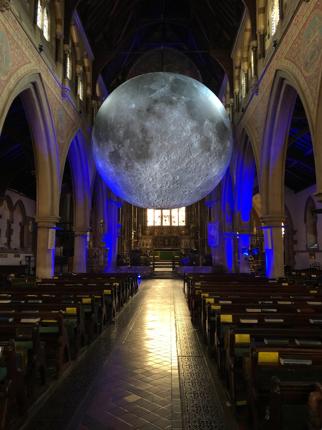 Museum of the Moon in Bournemouth.  The huge moon placed in St. Peter's Church Bournemouth. To mark and commemorate mans landing on the Moon 50 years ago. Absolutely fascinating.
