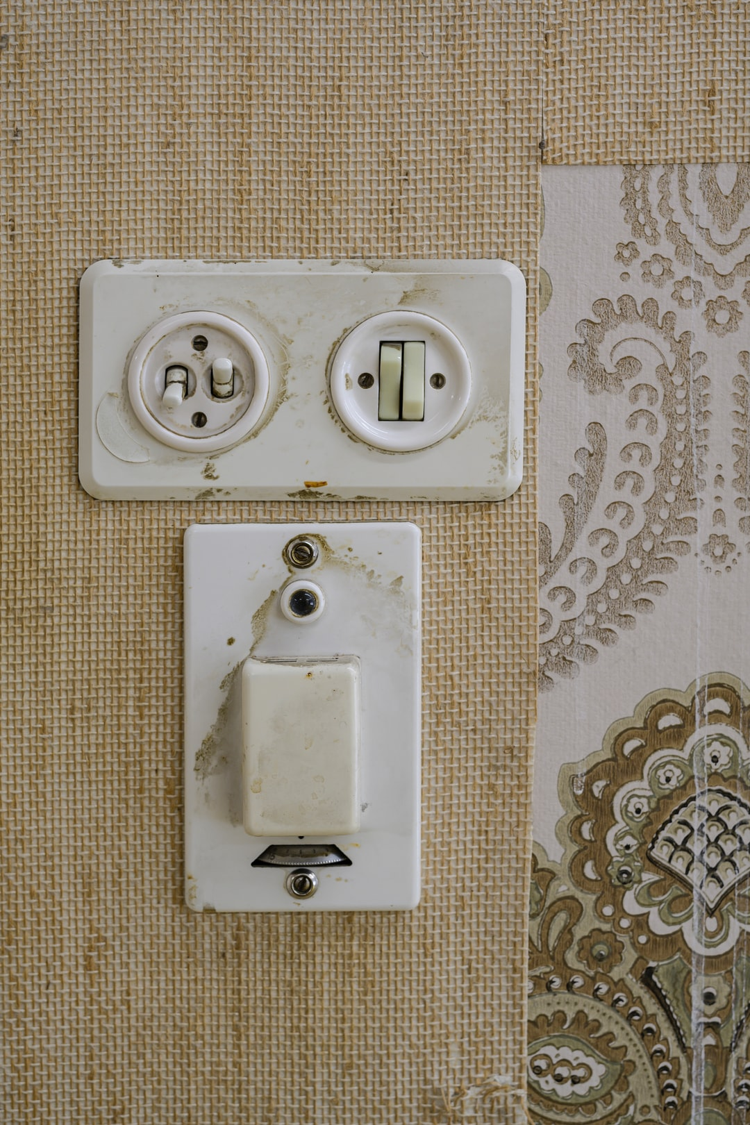 Light switch in a house shortly before demolition