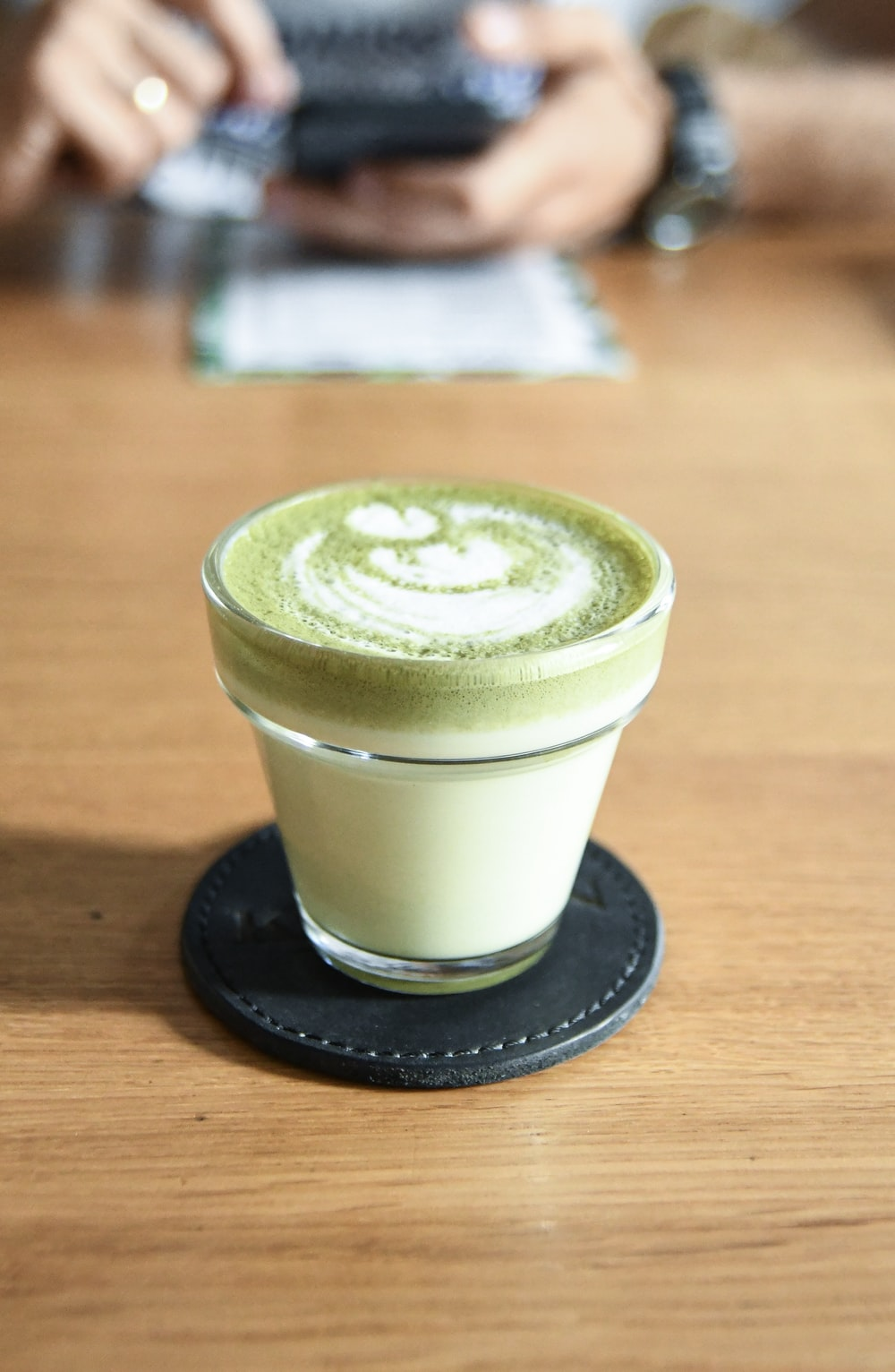 white and green beverage