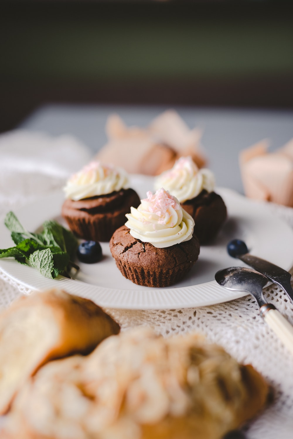 three chocolate cupcakes