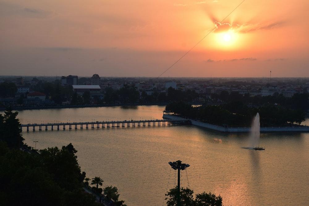 landscape photo of a bridge at sunset