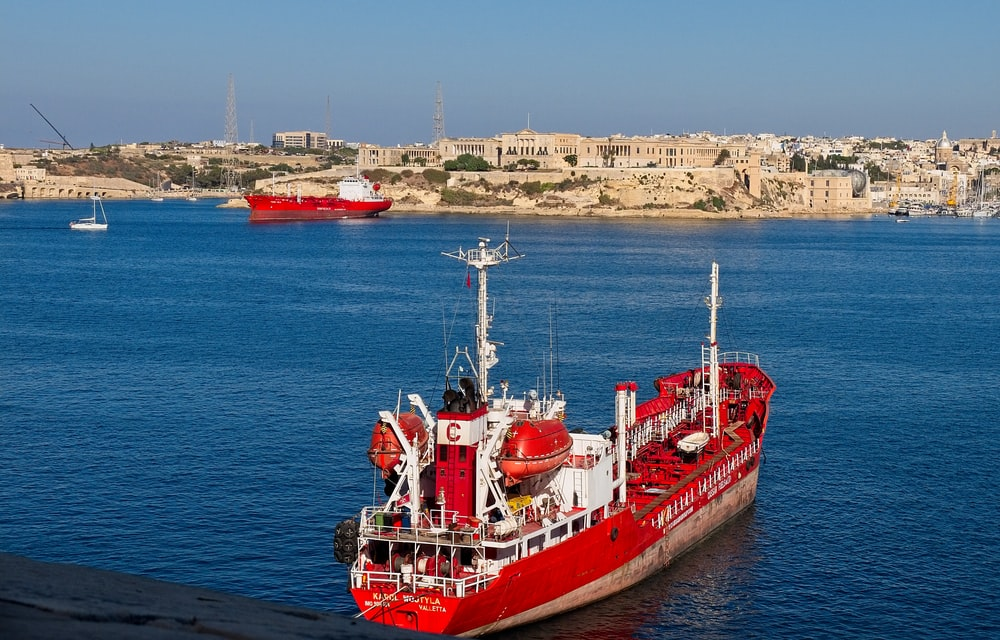 red and whit ship