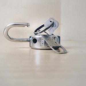 gray stainless steel padlock