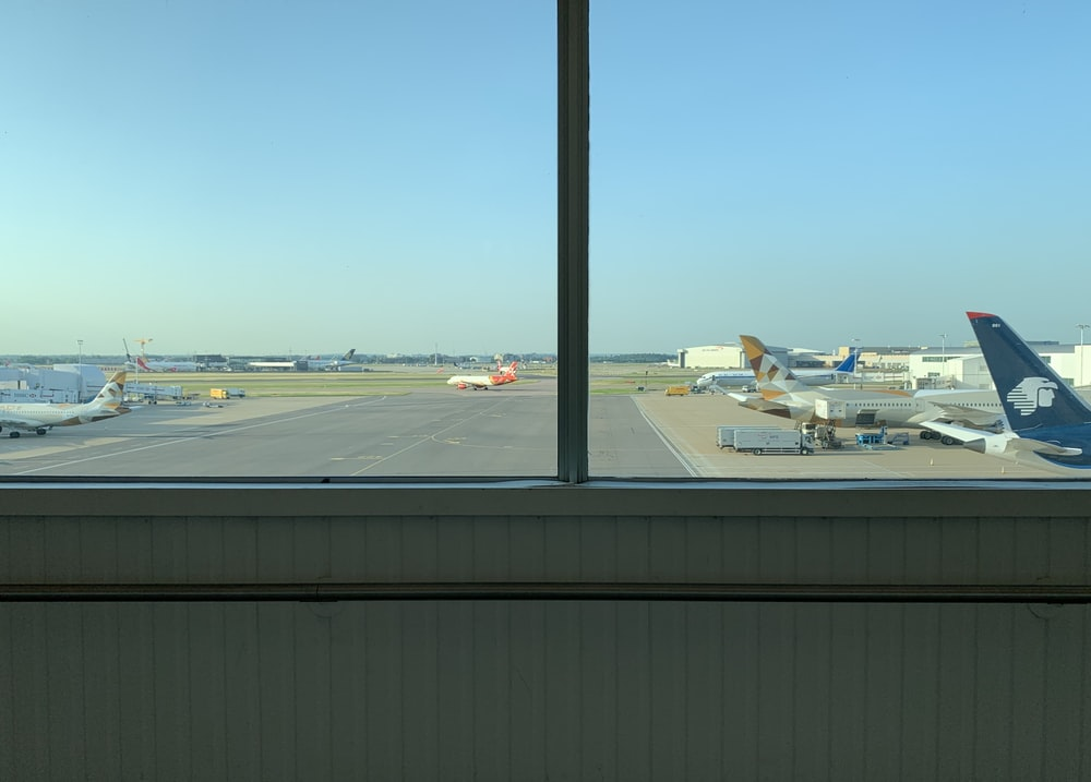 view of airplanes at an airport