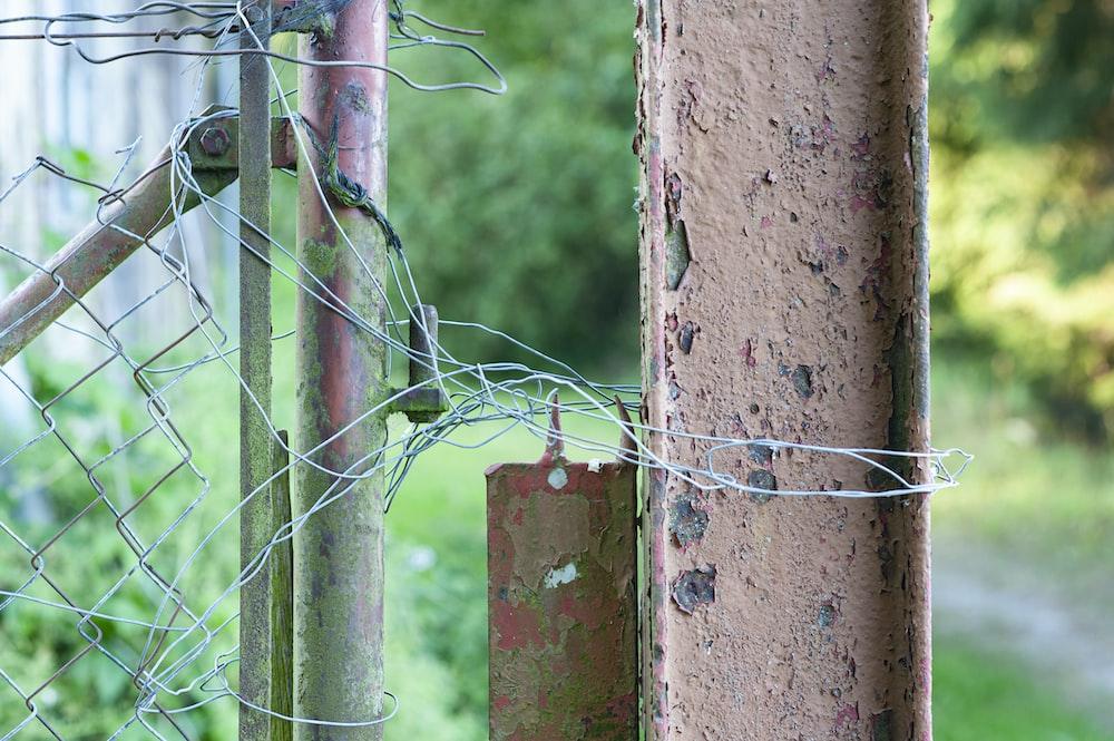 gray metal fence