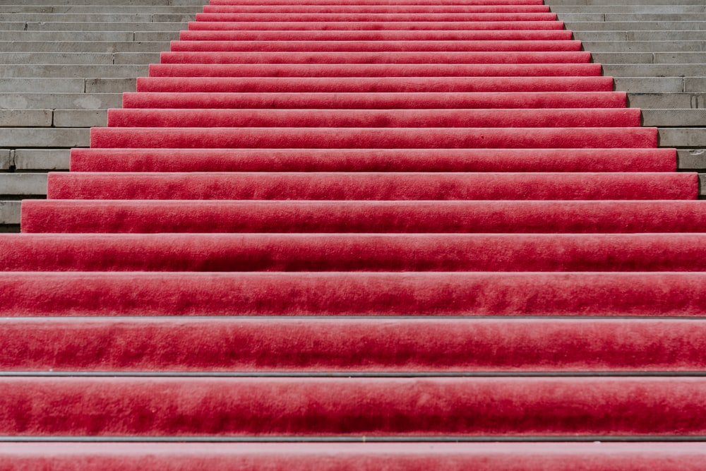 red rug on stairs