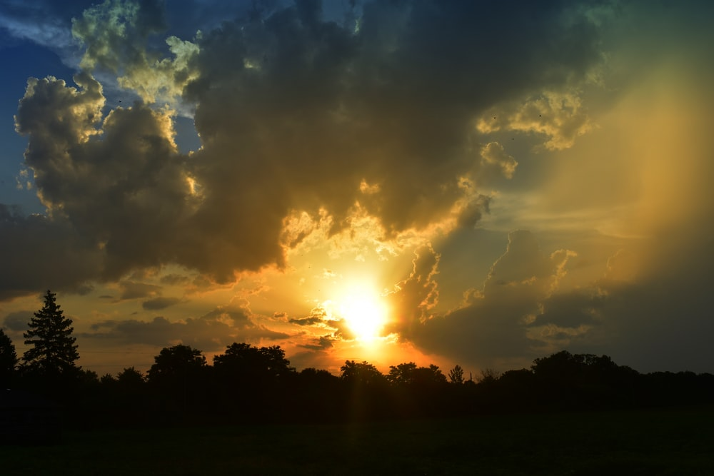 sunset and white clouds
