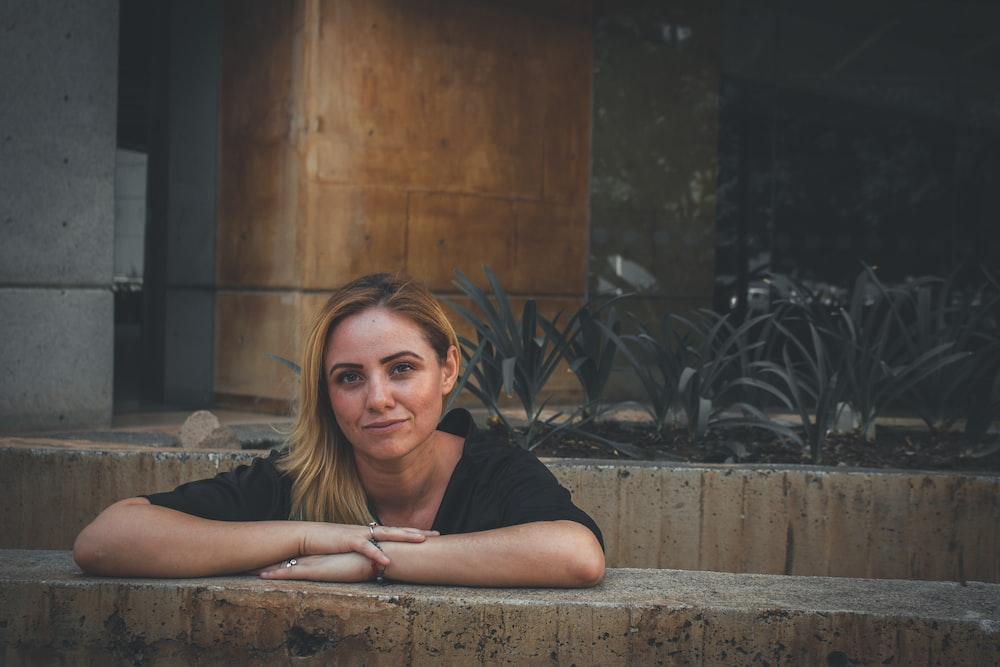 woman wearing black top during daytime