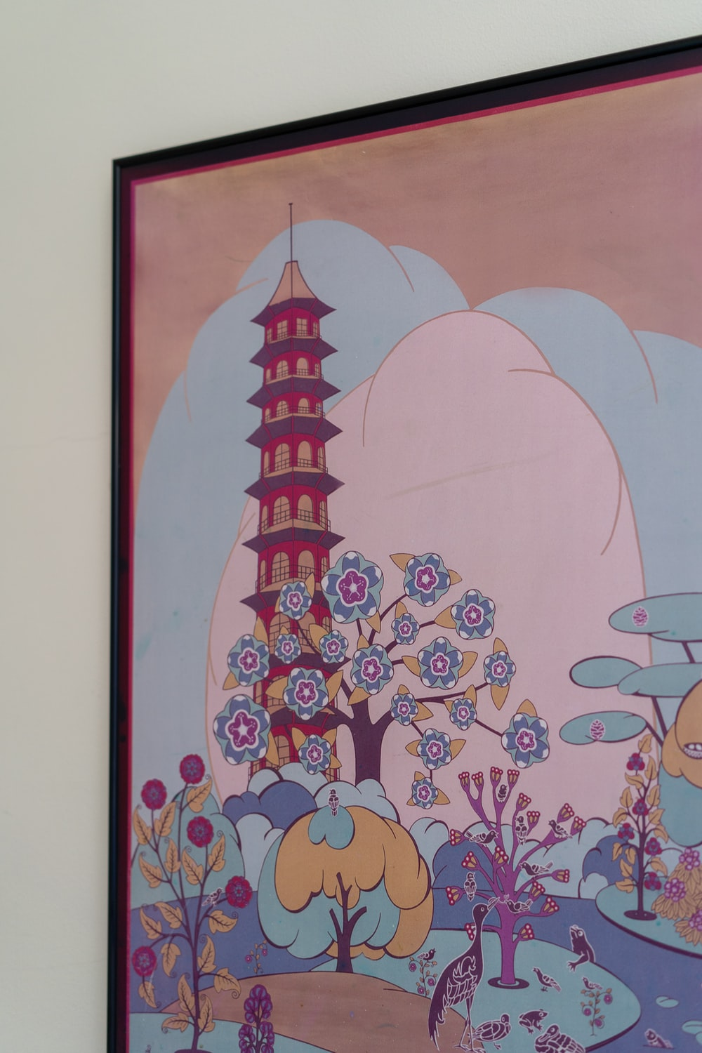 red pagoda temple painting with black frame