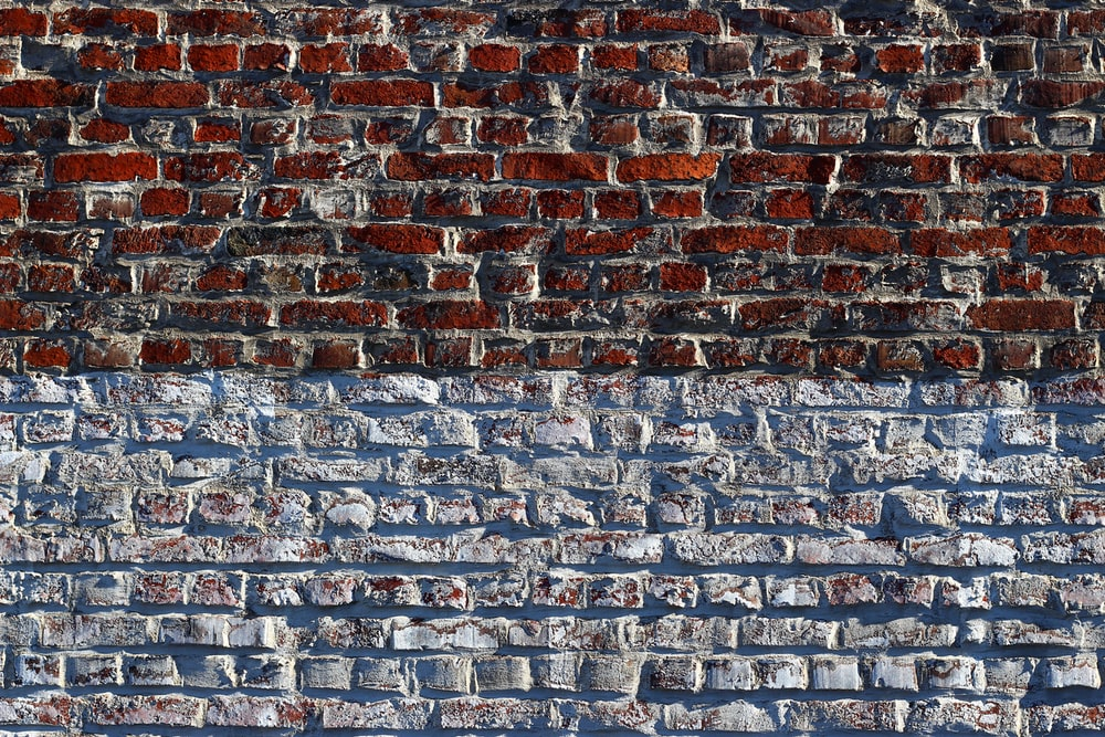 red and blue brick wall