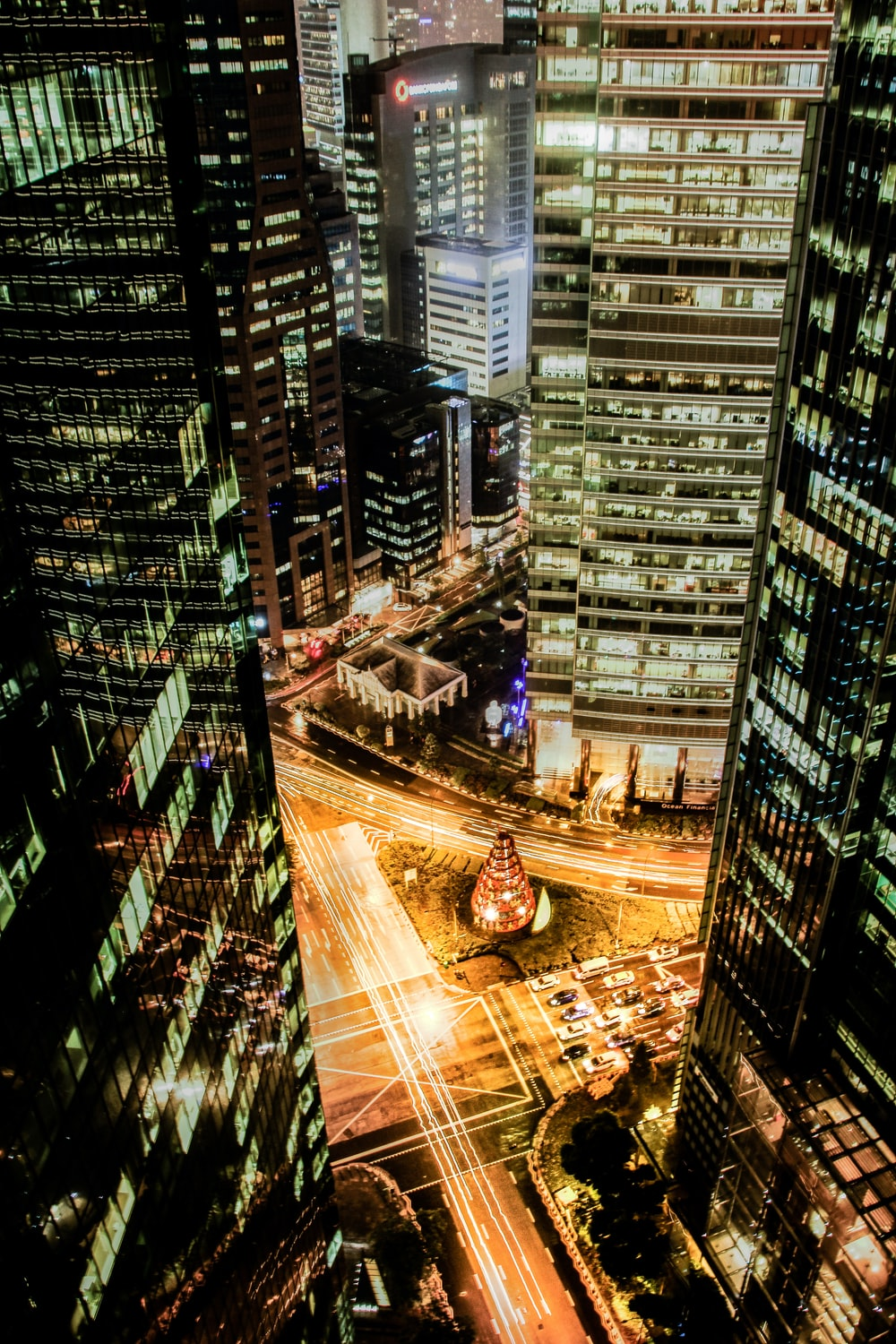 architectural photography of lighted city buildings