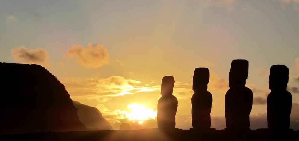 silhouette of Moai