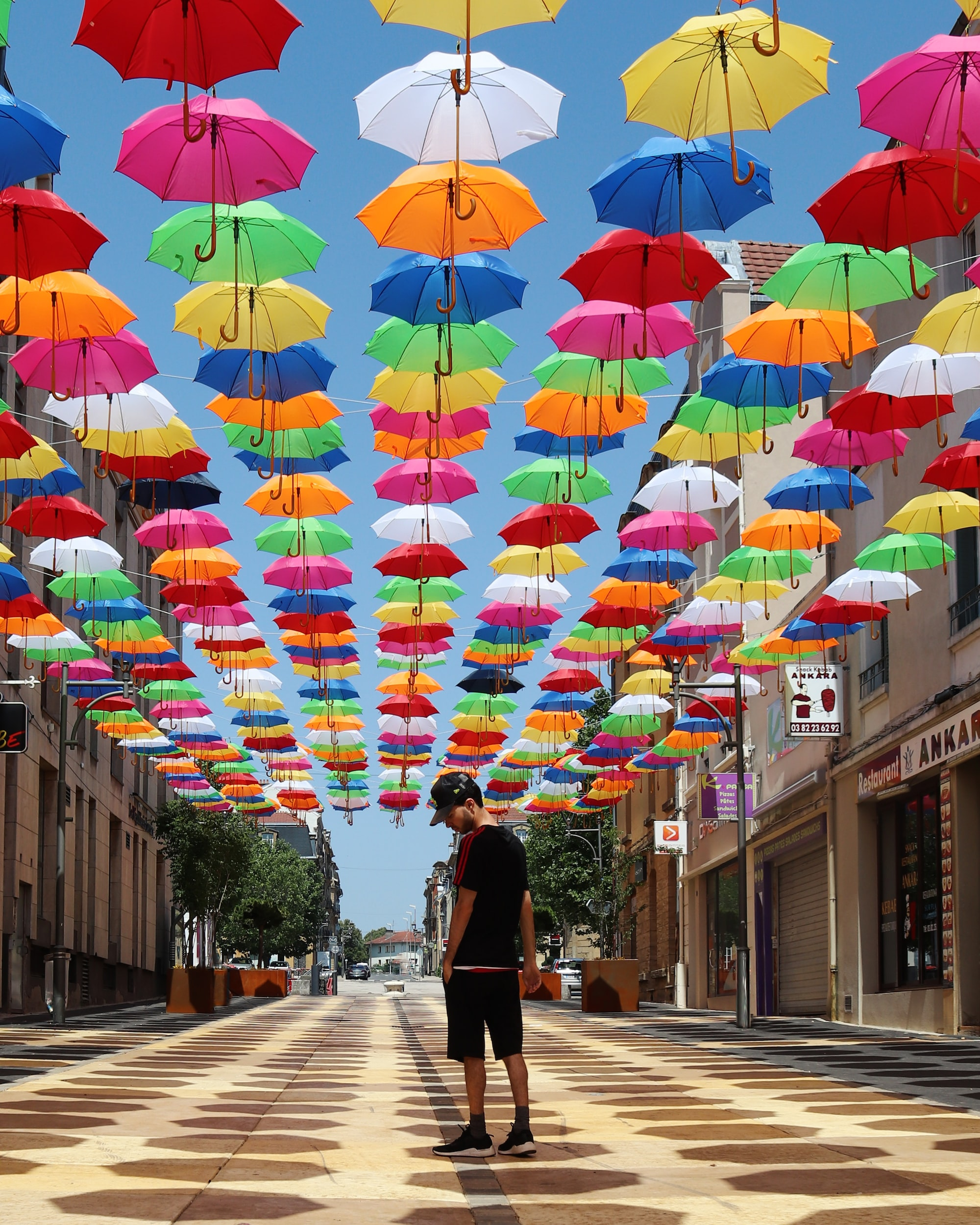 Umbrella street in Longwy, France.