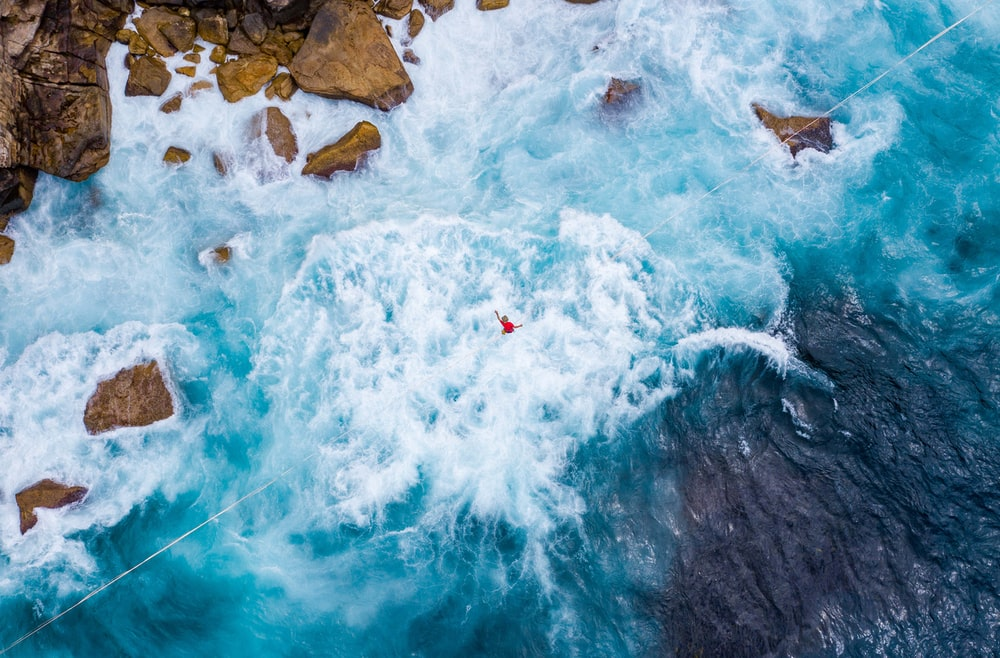 rippling blue water