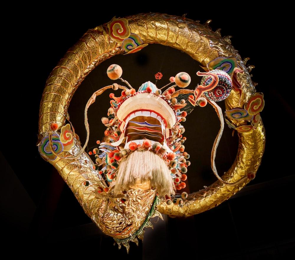 gold and multicolored dragon wallpaper