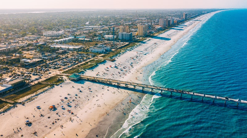 A beach in Jacksonville, Florida.