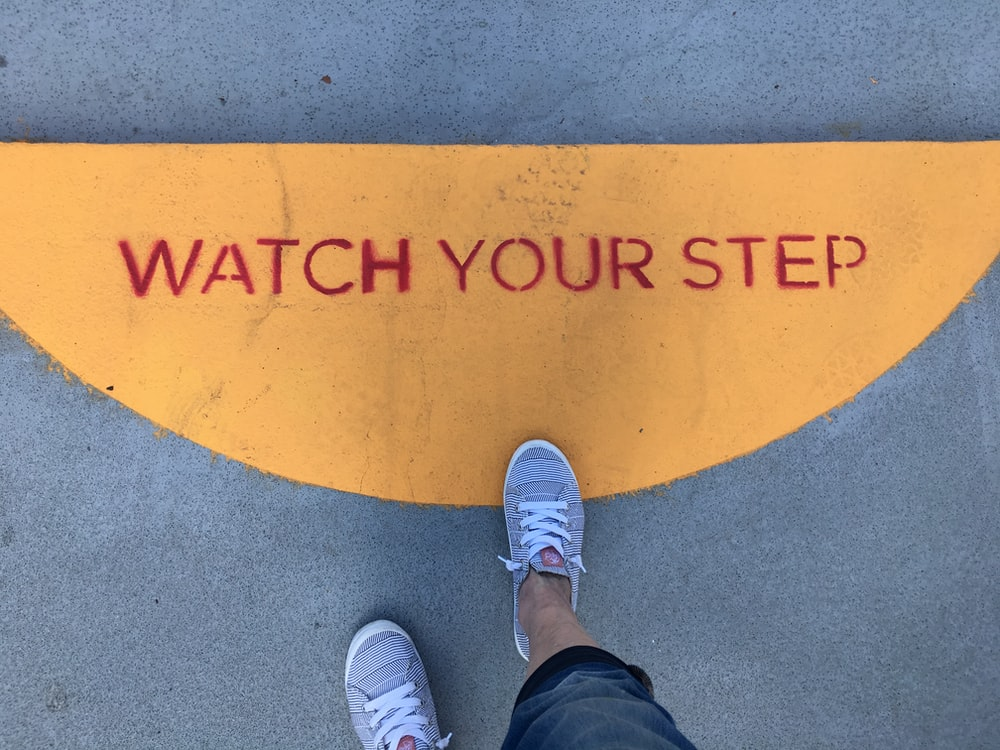 watch your step signage