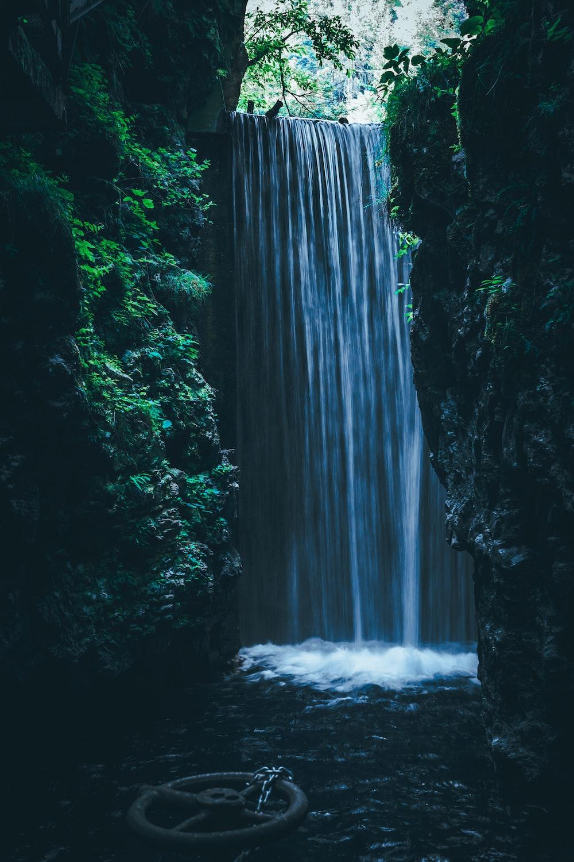waterfall near green-leafed plants