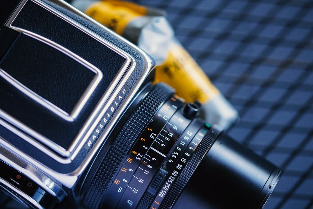 black land camera in close-up photo