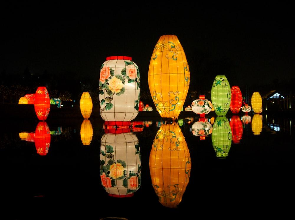 assorted-color lanterns