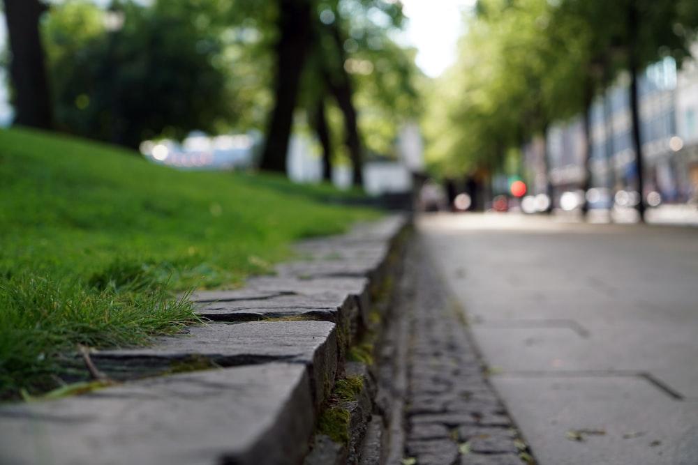 gray concrete road near grass