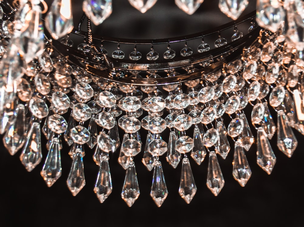 close photo of glass chandelier