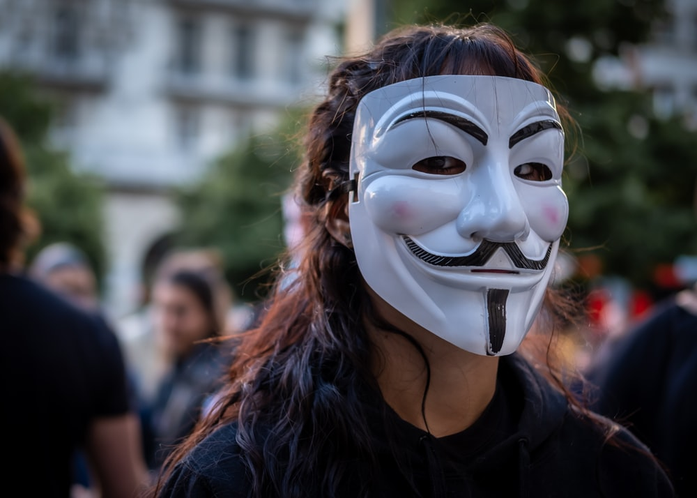 person wearing Guy Fawkes mask beside people