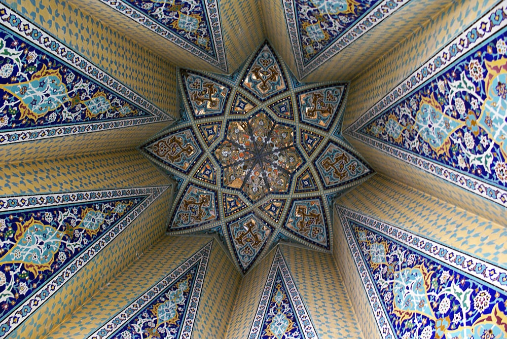 low angle view of gothic architectural ceiling