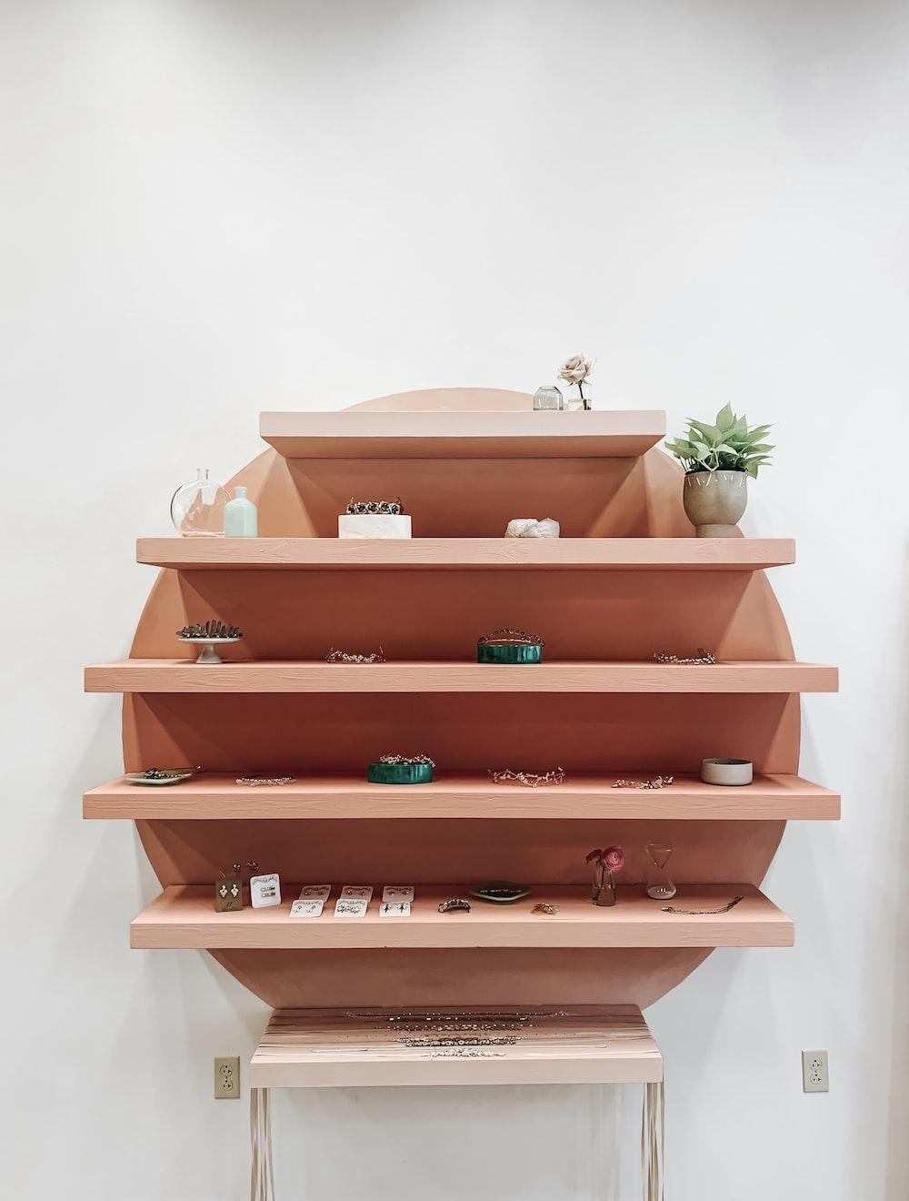 beige wooden rack