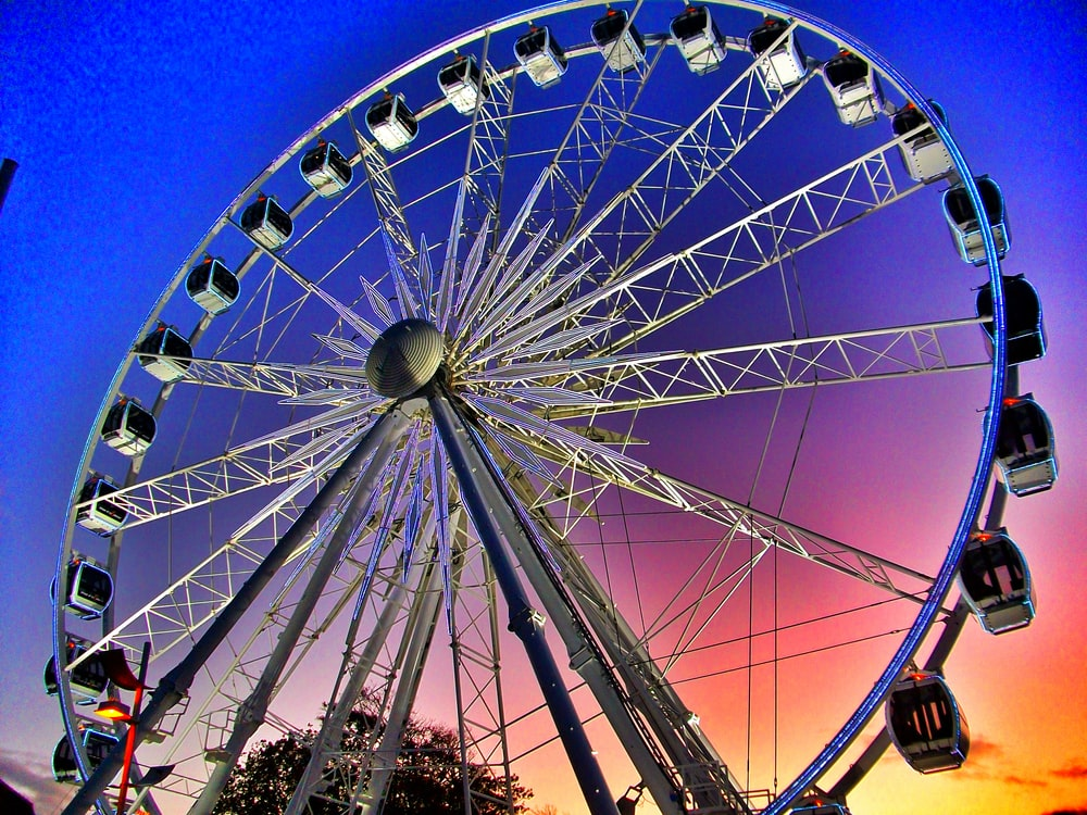 architectural photography of white ferris wheel