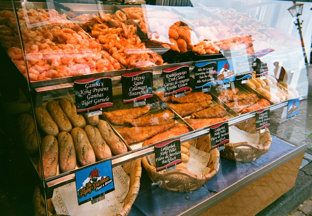 baked bread on display counter