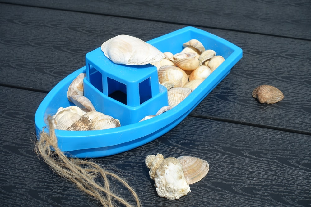 blue plastic boat toy