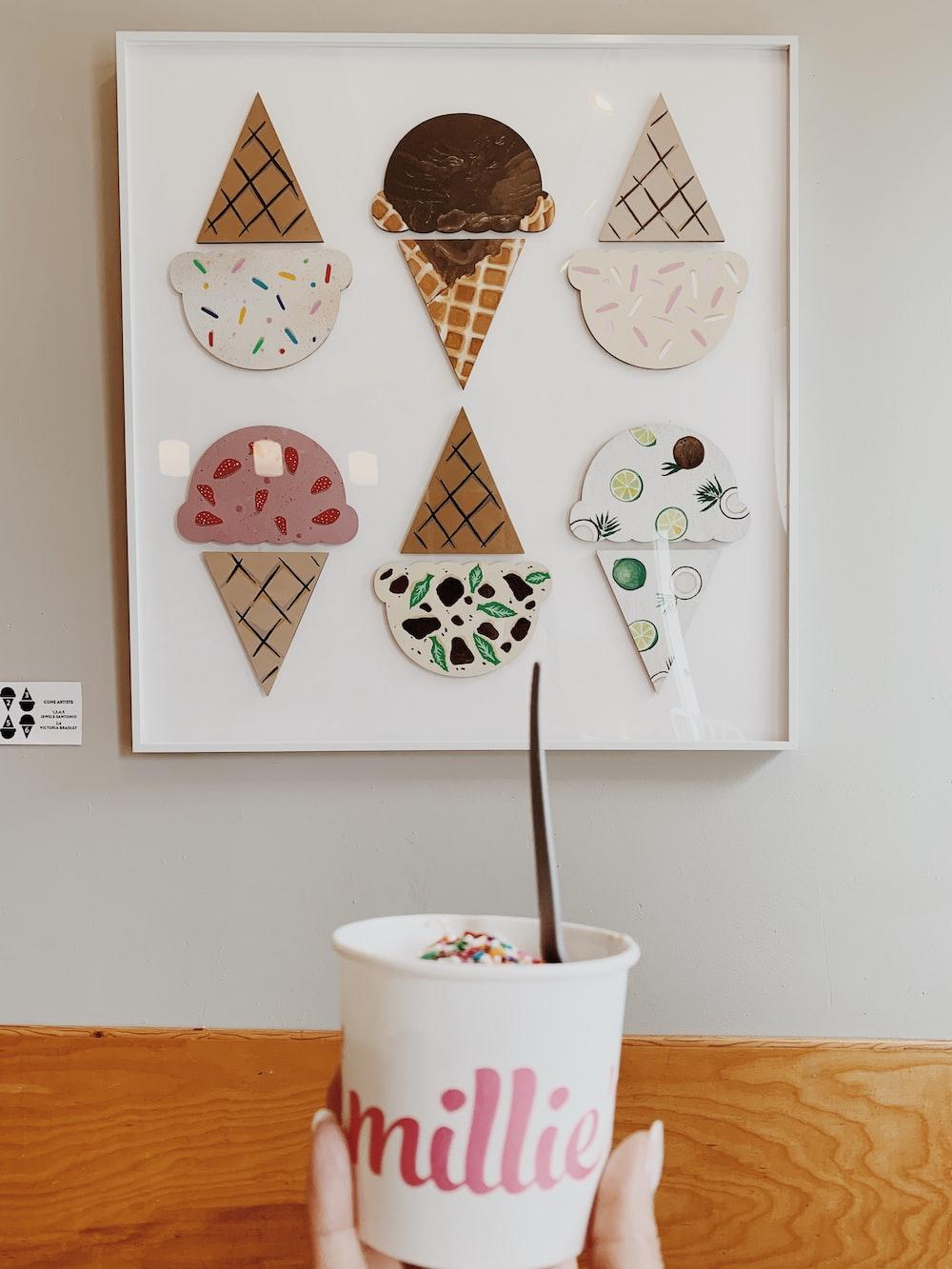 white-framed ice cream cones cutout artwork