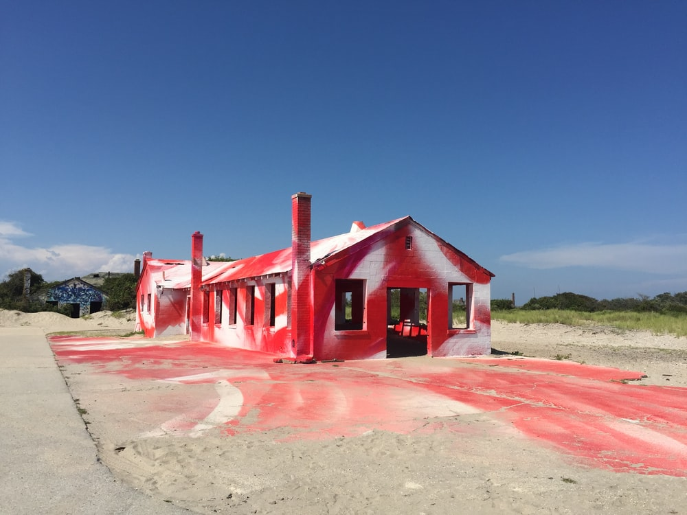 red painted hous