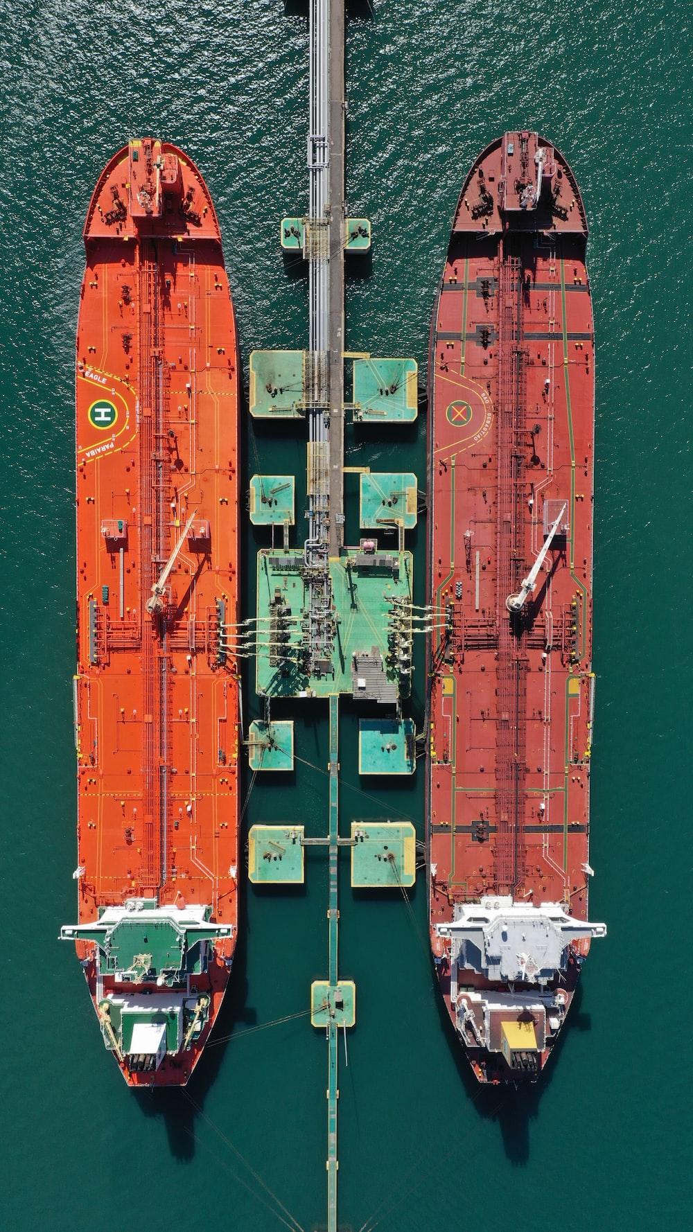 aerial orange oil ships