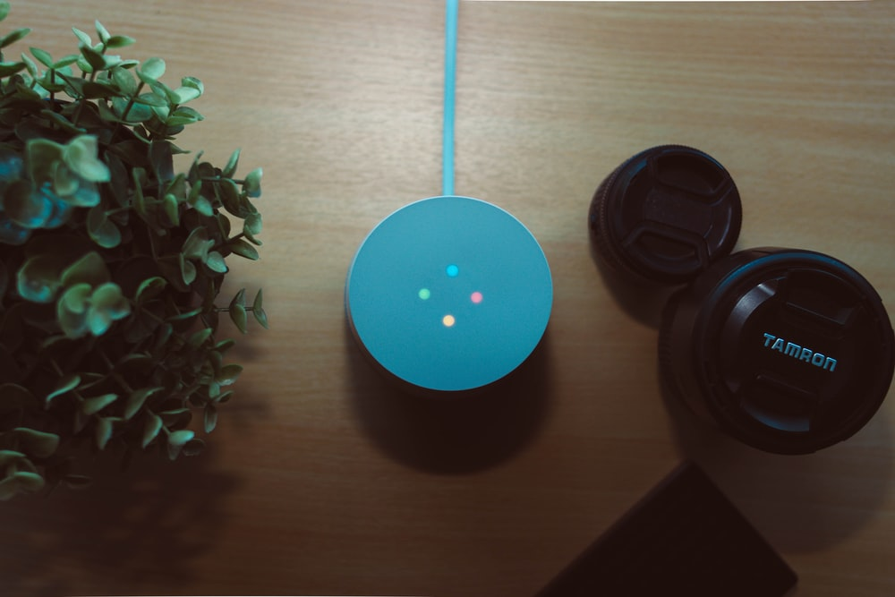 round blue portable speaker