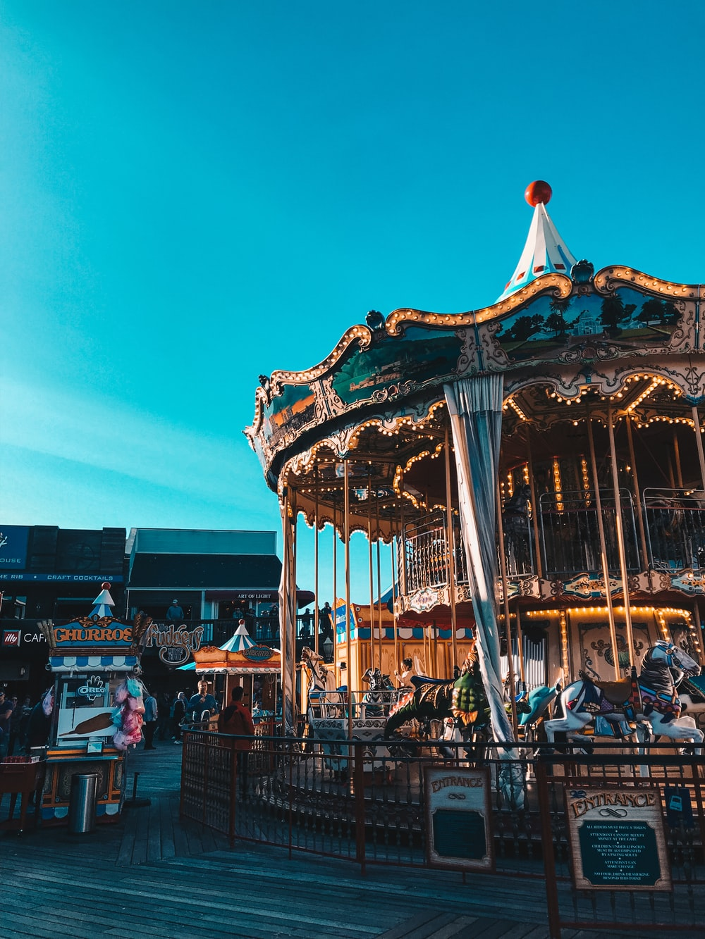 gold and blue carousel