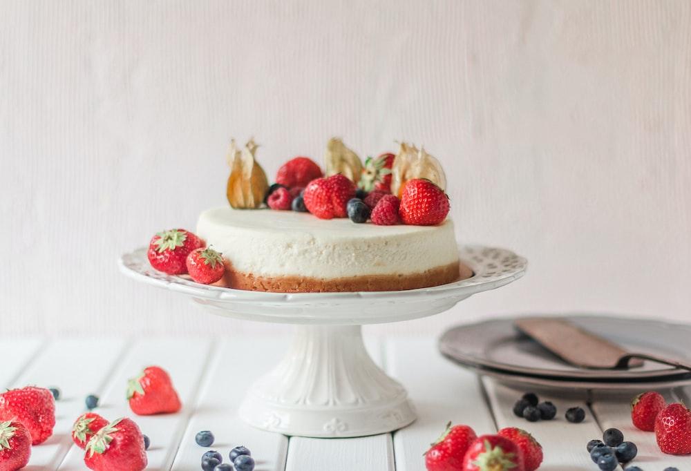 strawberry cake on dish