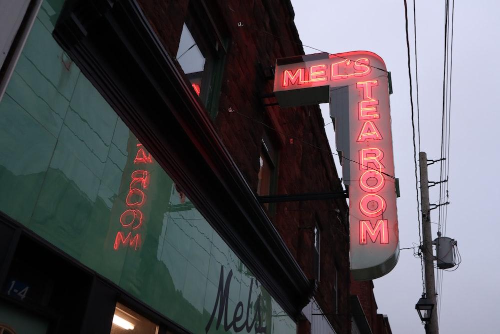 mecs taeroom neon signage