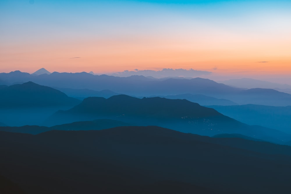 view of mountains during golden hour