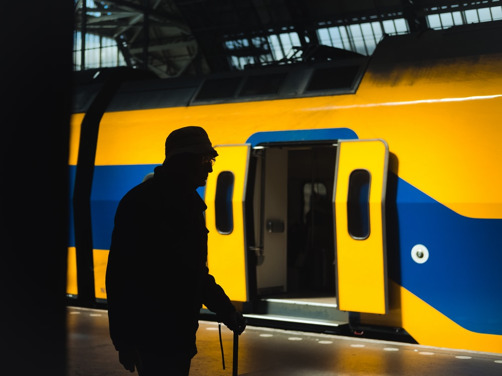 blue and yellow train