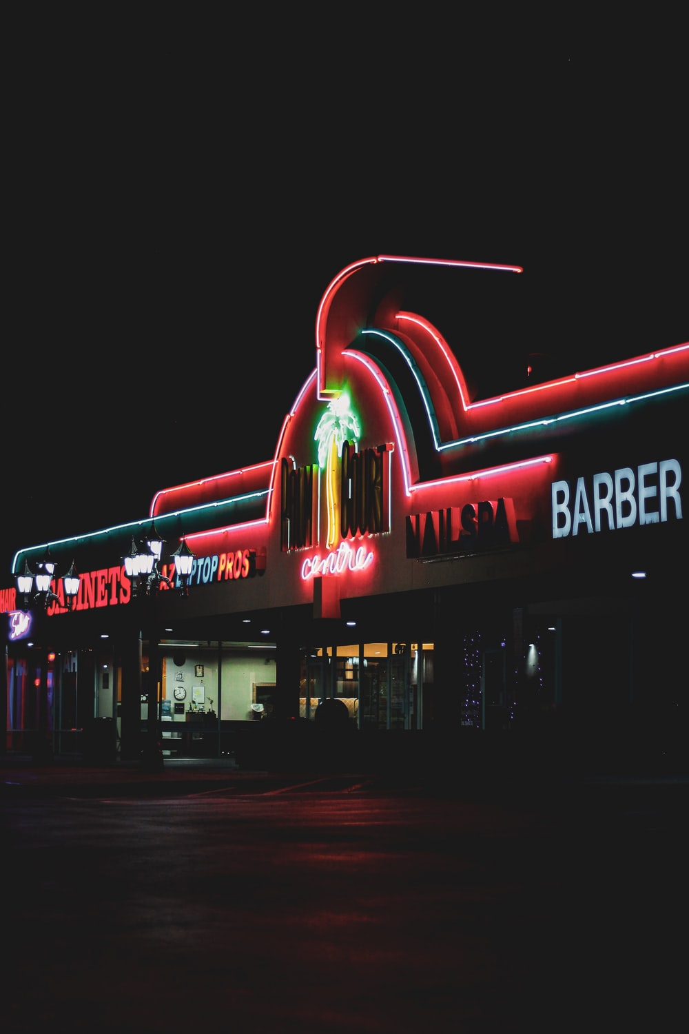 building with neon signage